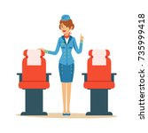 stewardess character in blue... | Shutterstock .eps vector #735999418