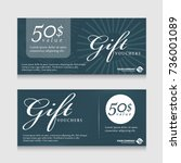 gift vouchers banner card with... | Shutterstock .eps vector #736001089