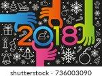 vector happy new year... | Shutterstock .eps vector #736003090