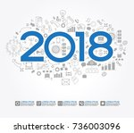 2018 text design on creative... | Shutterstock .eps vector #736003096