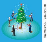 isometric christmas elf and... | Shutterstock .eps vector #736004848