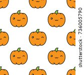 seamless halloween pattern... | Shutterstock .eps vector #736005790