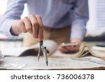 engineer sketching... | Shutterstock . vector #736006378