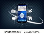 the concept of mobile banking.... | Shutterstock .eps vector #736007398