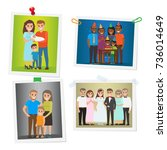 happy family pinned portraits... | Shutterstock . vector #736014649