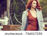 beautiful smiling red haired... | Shutterstock . vector #736017250