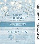 merry christmas poster template ... | Shutterstock .eps vector #736018486