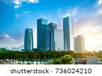 windows of skyscraper business... | Shutterstock . vector #736024210