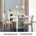 spacious dining room. interior... | Shutterstock . vector #736025260