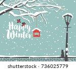 vector winter scene at the snow ... | Shutterstock .eps vector #736025779