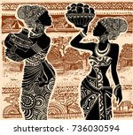 beautiful african girl on the... | Shutterstock .eps vector #736030594