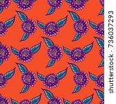 floral vintage seamless pattern ... | Shutterstock . vector #736037293