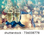 two champagne glass on... | Shutterstock . vector #736038778