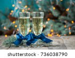 two champagne glass on... | Shutterstock . vector #736038790