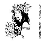 girl with floral wreath on her... | Shutterstock .eps vector #736039669