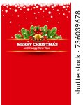 red christmas vintage greeting... | Shutterstock .eps vector #736039678