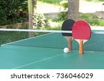 table tennis ball and paddle on ... | Shutterstock . vector #736046029