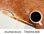 top view of blank notebook with ... | Shutterstock . vector #736046368