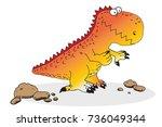 funny dinosaur colourful... | Shutterstock .eps vector #736049344