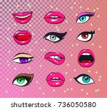 vector stickers kit of female... | Shutterstock .eps vector #736050580