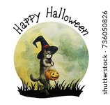 Halloween Card  Happy Cat With...