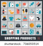 set of shopping icons. various... | Shutterstock .eps vector #736053514