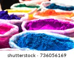 colorful rangoli powder sold on ... | Shutterstock . vector #736056169