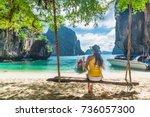 traveler asian woman in bikini... | Shutterstock . vector #736057300