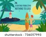 cartoon man with surf board on... | Shutterstock .eps vector #736057993