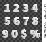 vector 3d numbers isolated on... | Shutterstock .eps vector #736061014