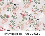 Stock vector  vector illustration of a seamless floral pattern with cute birds in spring for wedding 736063150