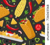 mexican food seamless pattern.... | Shutterstock .eps vector #736065568