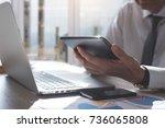 business man using digital... | Shutterstock . vector #736065808