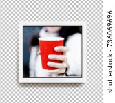 realistic square photo frame...   Shutterstock .eps vector #736069696