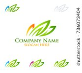 green lawn ecology vector logo...   Shutterstock .eps vector #736073404