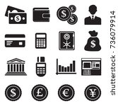 money icons. black flat design. ... | Shutterstock .eps vector #736079914