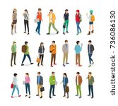 teenagers students  collection... | Shutterstock . vector #736086130