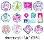 christmas santa postage letter...   Shutterstock .eps vector #736087864