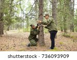 foresters install photo traps...   Shutterstock . vector #736093909