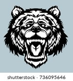 angry bear head logo. vector... | Shutterstock .eps vector #736095646
