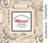 vector background with meat... | Shutterstock .eps vector #736096090