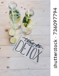 top view of time to detox card... | Shutterstock . vector #736097794