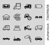 auto icons set. set of 16 auto