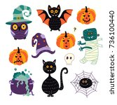 vector flat cartoon halloween... | Shutterstock .eps vector #736100440