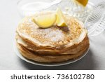 english style pancakes with...   Shutterstock . vector #736102780