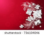 christmas and new year red... | Shutterstock .eps vector #736104046