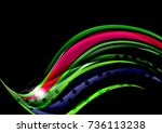 rainbow color wavy lines on... | Shutterstock .eps vector #736113238