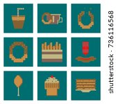 set pixel icons of fast food | Shutterstock .eps vector #736116568