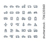 vector thin line icons set and... | Shutterstock .eps vector #736120360