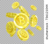 bitcoins on a transparent... | Shutterstock .eps vector #736121044